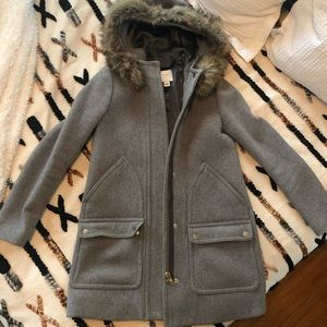 J. Crew Women's Wool Coat with Faux Fur Hood
